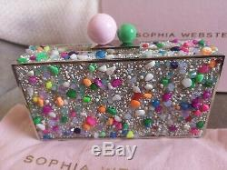 Sophia Webster Clara Lollipop Crystal Box Bag Clutch, BNWT, Pink, Silver, Green