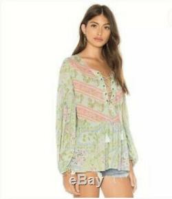 Spell And The Gypsy Womens Blouse Small Green Pink Floral City Light Lace Up Top