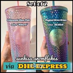 Starbucks Singapore Green Oil Slick & Pink Sakura Studded Cold Cup + DHL Express