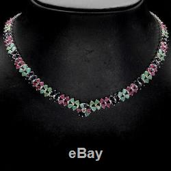 Sterling Silver Blue Sapphire Green Emerald Pink Ruby Necklace 18 1/2 to 20 1/2