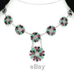 Sterling Silver Blue Sapphire Green Emerald and Pink Ruby Necklace 18 19 Inch