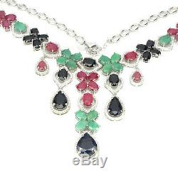 Sterling Silver Natural Blue Sapphire Green Emerald and Pink Ruby Necklace