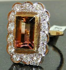 Stunning 18ct Yellow Gold Water Melon Tourmaline 0.7ct Diamond Cluster Ring