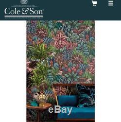 Stunning Cole & Son Ardmore Singita Wallpaper 109/7035 RRP £325 Teal/Green/Pink