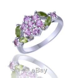 Summer Sale Pink Tourmaline and Green Peridot 925 Sterling Silver Flower Ring