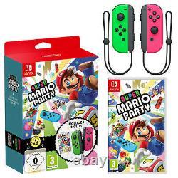 Super Mario Party + Neon Green / Neon Pink Joy-Con Controller Bundle (Switch)