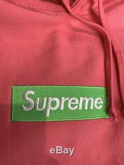 Supreme Box Logo Hoodie (FW17) Green/Pink Large