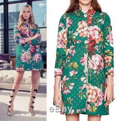 Sz 38 $2800 NEW GUCCI RUNWAY Green PINK FLORAL BLOOMS Cotton QUILTED Jacket COAT