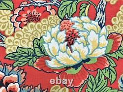 Thibaut Honshu Coral and Green Linen Cotton Red Green Navy Aqua Blue Beige Pink