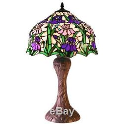 Tiffany-style Iris Table Lamp Purple Pink Green 660 Hand Cut Stained Glass Decor