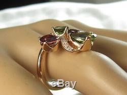 Tourmaline Diamond Ring 14K Rose Gold Green Pink Size Fine Jewelry Unique 7 NEW