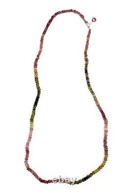 Tourmaline Gemstone Necklace strand real pink green gems 14k white gold 20