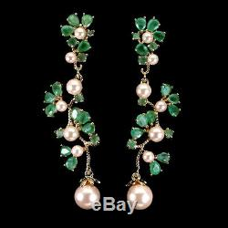 Unheated Pear Green Emerald 4x3mm Pink Pearl 7mm 925 Sterling Silver Earrings