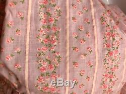VTG Flocked Floral Fabric Pink White Green Flowers LAST LOT 4 Yards x 44