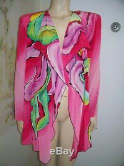 VTG NOS with Tags I. Magnin $720 Yolanda Lorente Pink Purple Green Blazer Cape L