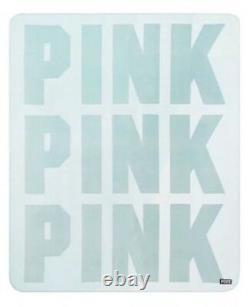 Victoria Secret PINK Mint Green Faux Fur Logo Sherpa Blanket