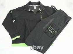 Victorias Secret PINK sz S setHalf-Zip Pullover & Boyfriend Pant Gray/green
