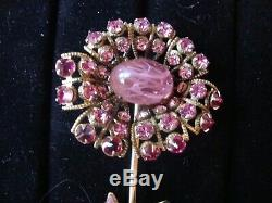 Vintage Signed Schreiner New York Pink Green Large Flower Pin Brooch