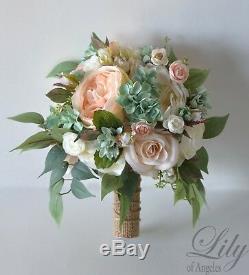 Wedding Bouquet Silk Flower Bridal Bridesmaid peach blush pink mint sage green