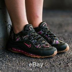 Women's Nike Air Max 98 CAMO GREEN FLORAL BLACK PRINT PINK AQ6468-300 sz 6 7 8.5