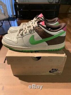 Womens 2006 Nike Dunk Low Premium Birch Green SZ 11 Cinder Brown Blue Pink New