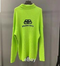 Womens fashion designer BALENCIAGA logo sweater dress size SML green and pink