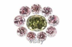 0,17 Carat Lot De 10 Diamants Naturels De Couleur Fantaisie Verte Rose Ovale Ronde Coffret