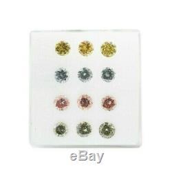 0.97 Carat Bleu-gris Rose Jaune Vert Diamants Naturel Couleur Fantaisie Rond 12 Boîte