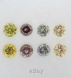 0,98ct Lot De 12 Diamants De Couleur Fantaisie Naturels Vert-gris Rose Jaune Orange