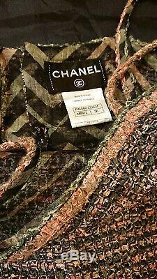 100% Authentique Chanel Rose Vert Tweed Robe! Sz 36 Superbe