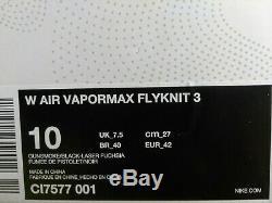 10 Femmes Nike Air Vapormax Flyknit 3 Multicolore Rose Vert En Cours D'exécution Ci7577 001