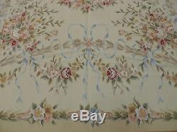 10x14 Français Style Aubusson Tapis En Laine Orientale Main Nouée Rose Vert