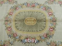 12x22 Rare Oversize / Palais Oriental Tapis Savonnerie Française Jaune Rose Vert Or