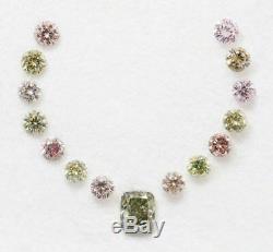 15 X Coussin Rond Caméléon Rose Vert Diamant De Couleur Fantaisie 0.74 Carat