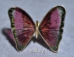 17.54ct Papillon Tourmaline Rose Et Vert Pastèque Tourmaline 14k