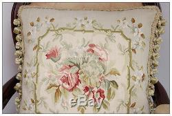 18 Soie Tissée Oreiller Rose Aubusson Cottage French Decor Pastel Vert Rose Ivoire
