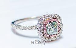 1.31ct Green Light, Argyle Intense Pink Diamond Bague De Fiançailles Gia 18k Vs1