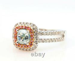 1.50ct Natural Fancy Light Green Argyle Ntense Pink Diamonds Bague De Fiançailles Gia