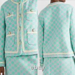 1,9x1,5m Gucci Collection Authentique Tweed Boucle Tissu Gg Logo Vert Rose Luxus