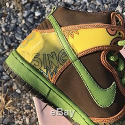 2005 Ds Nike Dunk High Pro Sb De La Soul Brown Altitude Vert Taille 7.5 Boîte Rose