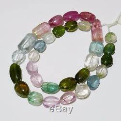 356ct Afghani Vert Bleu Rose Bicolore Tourmaline Perles Nugget 18,5 Strand