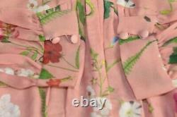 3790 $ Nouveau Oscar De La Renta Botanical Print Silk Maxi Robe Melon Rose Vert 10