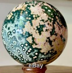 3,29 Collectionneurs Piece Ocean Jasper Sphere 1,11 Lb Superbe Verts Et Pinks
