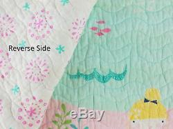 3-pc Soyons Mermaids Pleine / Reine Quilt Set Seahorse Starfish Rose Vert