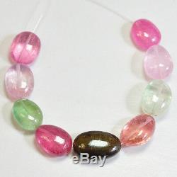 46.75ct Afghani Vert Rose Peach Tourmaline Lisse Nugget Perles 4,25 Strand (9)
