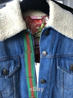 4700 $ Gucci Vert Classique Web Rouge Bleu Denim Jean Veste De Soie Rose Blooms Doublure