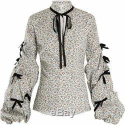 495 $ Nouveau Caroline Constas Stella Blouse Imprimé Floral Blanc Rose Vert Tops L