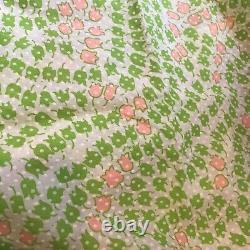 4 Yds Vtg 60s 70s Flocked Swiss Dot On Neon Pink Lime Green Tulips 44w Tissu