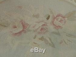 4x6 Français Aubusson Tapis En Laine Beige Rose Vert Floral Gris