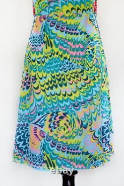 60's Nanette Lepore Retro Bleu Vert Rose Vintage Cage Mod Robe 6